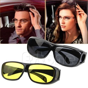 On Sale 1PC HD Night Vision Unisex Driving Sunglasses Yellow Lens Over Wrap Around Glasses
