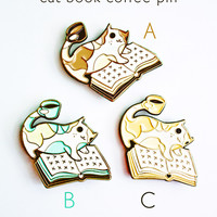 Cat Book Coffee Enamel Pin - Cat Enamel Pin - Coffee Enamel Pin - Book Enamel Pin by boygirlparty