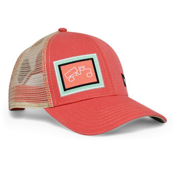 Snapback Trucker Classic Salmon and Khaki Hat