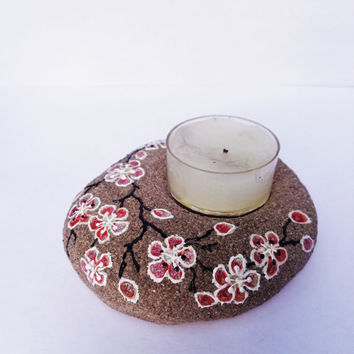 Cherry blossom tea light Artisan stone Painted stone Cherry blossom decor