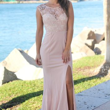 Blush and Cream Crochet Maxi Dress