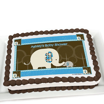 Blue Baby Elephant - Personalized Baby Shower Cake Topper