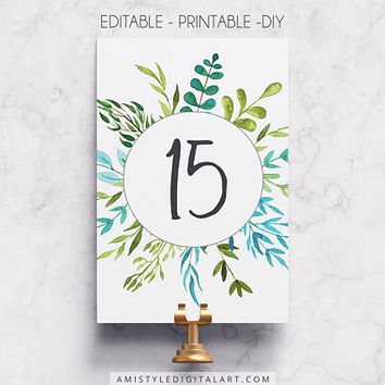 Table Number, Leaves, DIY Table Number, Number Template, Printable Wedding, Reception Numbers, Wedding Table Card, Floral Table Number, PDF