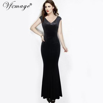 Vfemage Women Elegant Velvet Sexy V Neck Cap Sleeve Formal Evening Party Fitted Bodycon Mermaid Sheath Maxi Long Gown Dress 7877