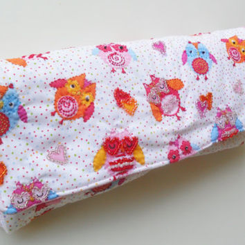 White Diaper Clutch in Owl Pattern with Beads and Embroidery
