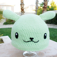 England Flying Mint Bunny Inspired Hat With Wings: Hetalia Axis Powers Japanese Anime Kawaii Handmade Crochet Beanie Hat