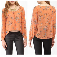 Orange Floral Print Cuff Sleeve Chiffon Blouse