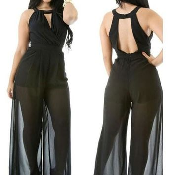 Black Patchwork Cut Out Backless Grenadine High Waisted Wide Leg Long Jumpsuit