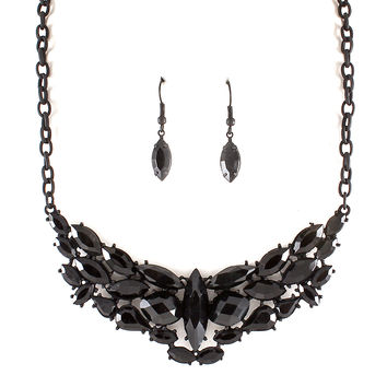 black marquis crystal necklace and earring set