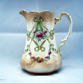 Antique Edwardian Tall Water Jug Ribbon pattern Made By S.Fielding&Co (from 1913 'Crown Devon') Stoke on Trent, England