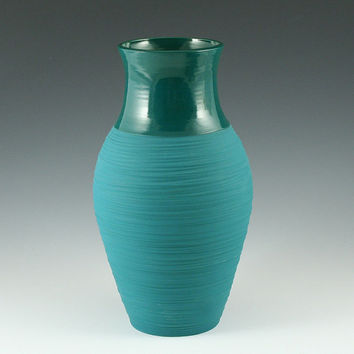 SALE Vase - Tall Groove Vase in Aqua