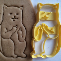 Cookie Cutter Cat with middle finger sceptical cookiecutter cookies custom shape custom size custom picture mature