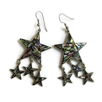 Alpaca Silver Star Dangle Earrings with Inlaid Abalone Vintage signed Mexico