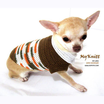 Dog Clothing Handmade Pet Clothes Crochet Sweater Brown Dog Clothes D888 - Free Shipping