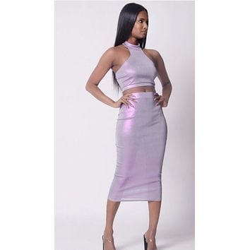 Farrah Halter Crop Top and Midi skirt