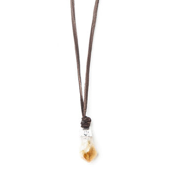Sierra Citrine Leather Necklace