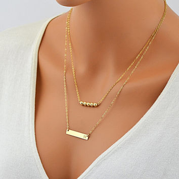 Layered Necklace Bar / Layering Necklace / Personalized Bar Necklace Silver, Gold Filled Chain