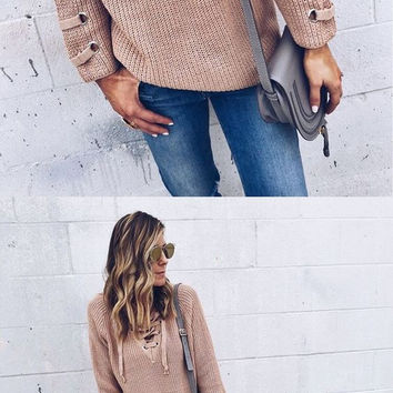 UPSTATE LACE UP SWEATER - TAUPE