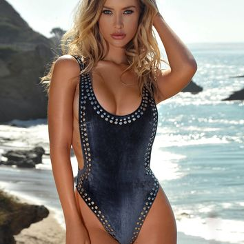 Puerto Plata Grey Velvet One Piece Swimsuit