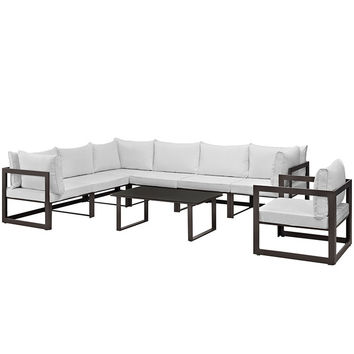Fortuna 8 Piece Outdoor Patio Sectional Sofa Set in Brown White