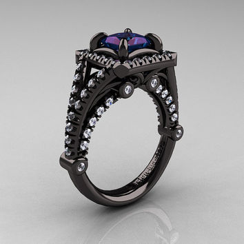 Modern Art Nouveau 14K Black Gold 1.23 Carat Princess Alexandrite White Diamond Engagement Ring, Wedding Ring R336-14KBGDAL