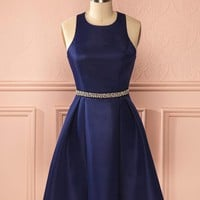 Navy Blue Beadings Stapless Homecoming Dresses