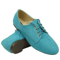 Womens Flats Oxford Lace Up Casual Comfort Shoes Suede Sz 5.5-10 Blue