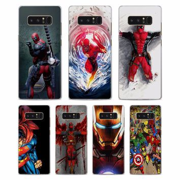 Deadpool Dead pool Taco MOUGOL  iron man flash Pattern Clear hard Phone Case Cover for Samsung Note5 Note8 S8 S8Plus S6 S7 edge s5 AT_70_6