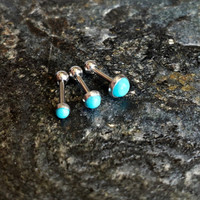 """Turquoise Stone 18g (1mm) (Buy 1 or Set of 3 !!) Triple Helix Piercing Barbell 1/4"""" (6mm) !"""