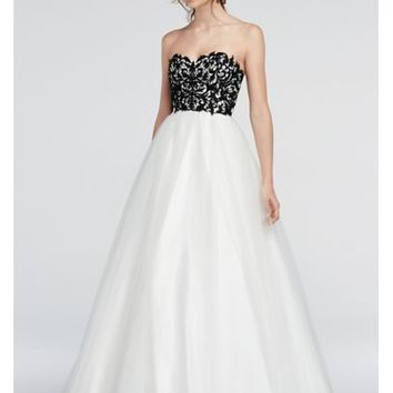 Strapless Lace Prom Dress with Ball Gown Skirt - Davids Bridal
