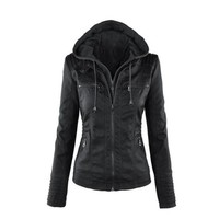 DCCKHQ6 Womens Casual Motorcycle Fleece Hoodie Faux Leather Jacket