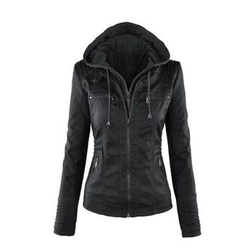 VONEHL5 Womens Casual Motorcycle Fleece Hoodie Faux Leather Jacket