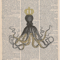 Book Print Cuttlefish with crown print on Upcycle Book Page Art Print Dictionary Print Collage Print