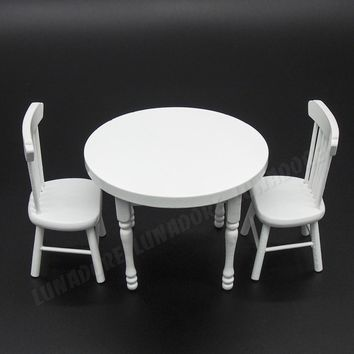 Odoria 1:12 Miniature Wood White Dining Table with Two Chairs Dollhouse Furniture Accessories Kitchen Diningroom Restaurant