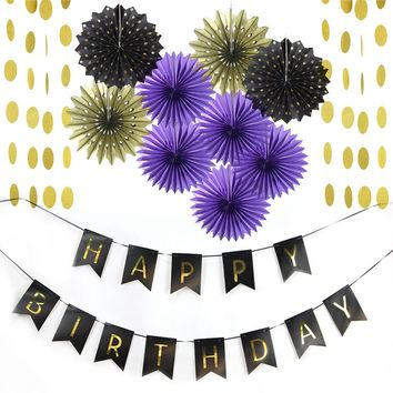 (Purple Gold Black)Party Decoration Set Happy Birthday Banner Circle Garland Paper Fans for Birthday Party First Birthday Shower