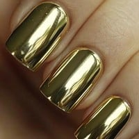 [607] Mirror Golden Nail Wrap Manicure Nail Art
