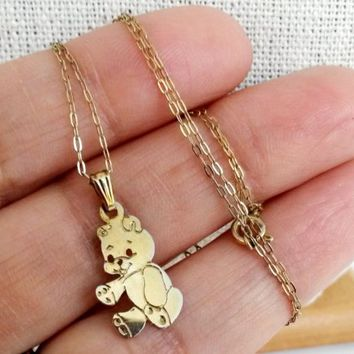 Vtg 925 Gold Plated Teddy Bear Pendant Necklace & GF Chain SIGNED StarSymbol