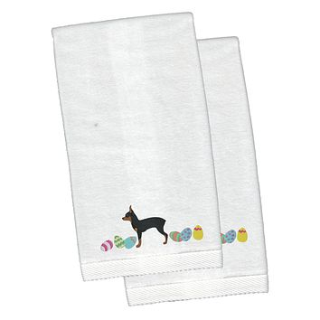 Toy Fox Terrier Easter White Embroidered Plush Hand Towel Set of 2 CK1690KTEMB