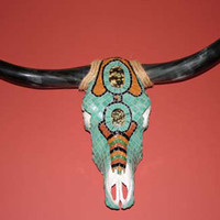 Cow Skull, Home Decor, Southwest, Steer Skull Wall Art, Mosaic Art, Turquoise, Free US Shipping
