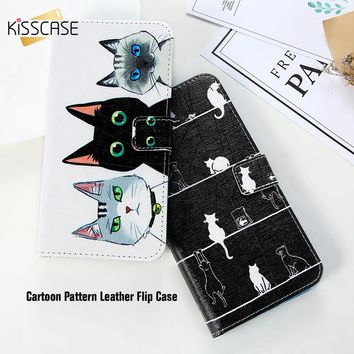KISSCASE Flip Wallet Phone Case For iPhones - PU Leather Shell