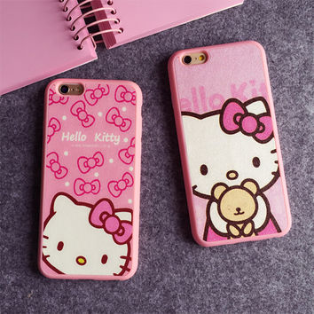 4.7 5.5 Inch Cartoon Hello kitty Silk TPU soft pink color frame case for iphone 7 6 6S 6 / 7 plus 5 5s SE phone case back cover