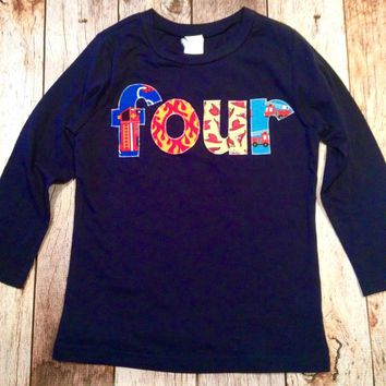 Firemen fire truck birthday shirt Boy four 4th Birthday Navy Grey Raglan blue aqua teal turquoise red yellow firetruck hats ladders rescue
