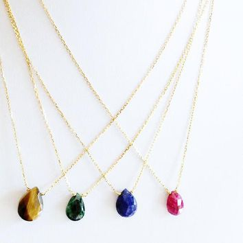 Gemstone Tear Drop Necklace