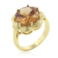 Champagne Floral Cocktail Ring, size : 06