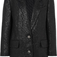 Alexander Wang - Chain-trimmed coated cotton-blend tweed blazer