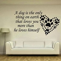 Wall Decals Quote A Dog Is The Only Thing Decal Heart Paws Trail Vinyl Sticker Nursery Pet-Shop Home Room Bedroom Decor Art Murals Ms725
