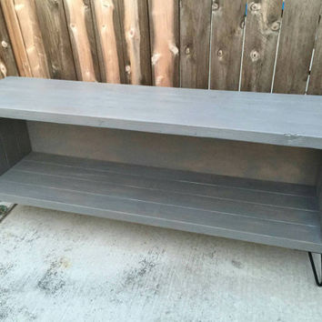 Slate colored vinyl storage unit, entertainment console, media stand , reclaimed wood,  hand made to order
