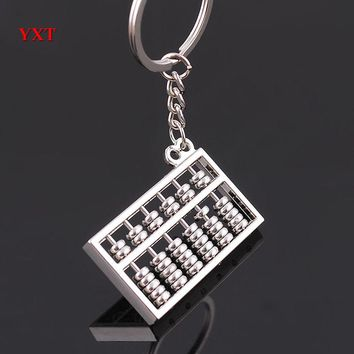 Chinese Style Silver Metal Mini 3D Simulation Sixth Gear Abacus Charm Pendant Key Ring Chain Creative Gift