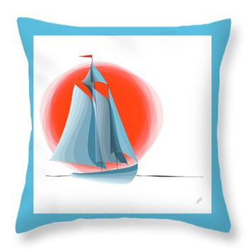 "Sailing Red Sun Throw Pillow for Sale by Ben and Raisa Gertsberg - 16"" x 16"""