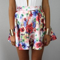 WATERCOLOUR POPPY FLORAL HIGH WAISTED SKATER CIRCLE SKIRT XS S M L